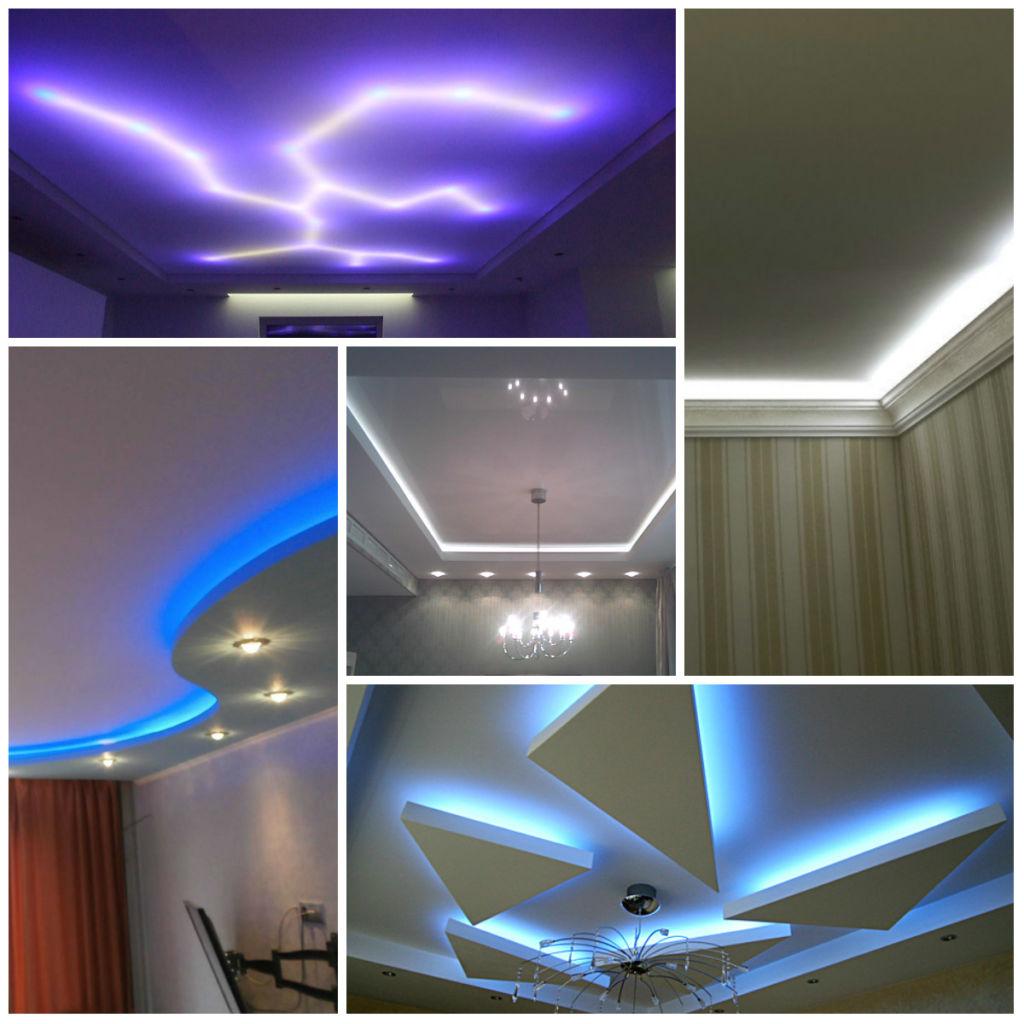 Монтаж светодиодов на потолке фото