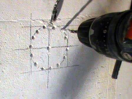 Сверление отверстия под розетку перфоратором
